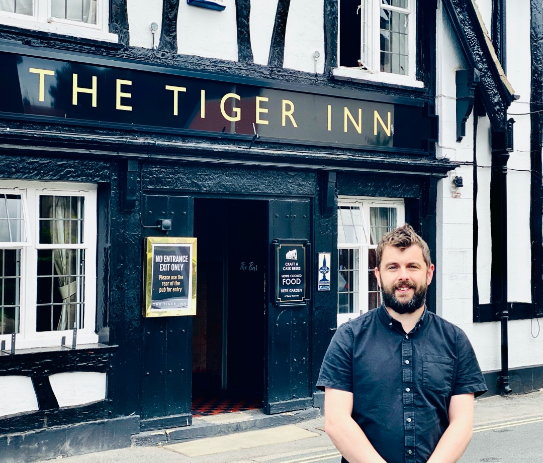 Landlord Allen Slinger outside The Tiger Inn