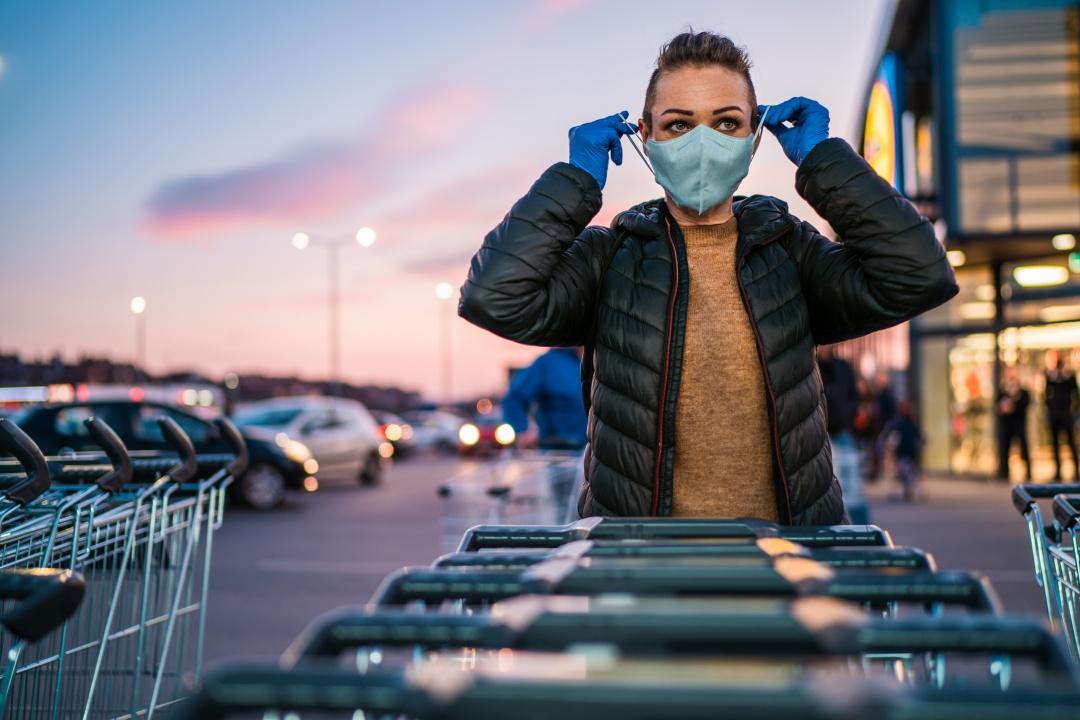 Shopper wearing face mask