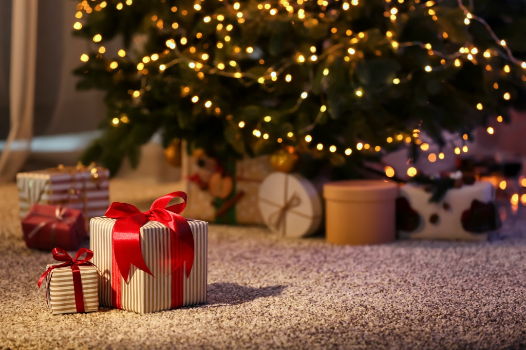 Presents around a Christmas tree