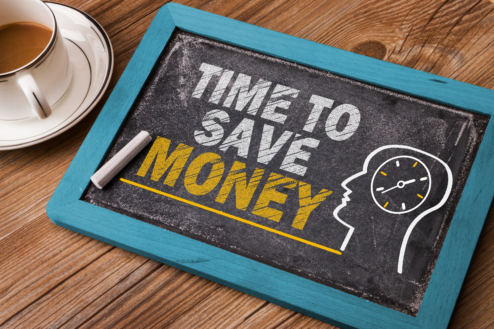 Board with money-saving message